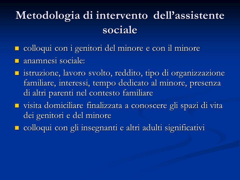 Metodologia di intervento dell'assistente sociale