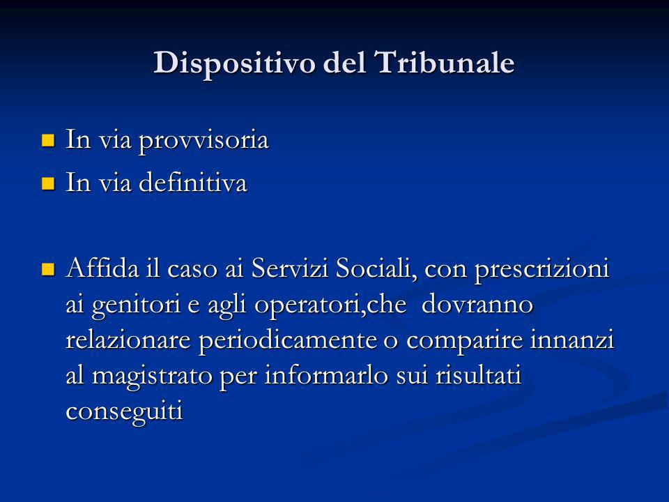 Dispositivo del Tribunale