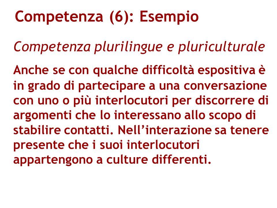 Competenza (6): Esempio