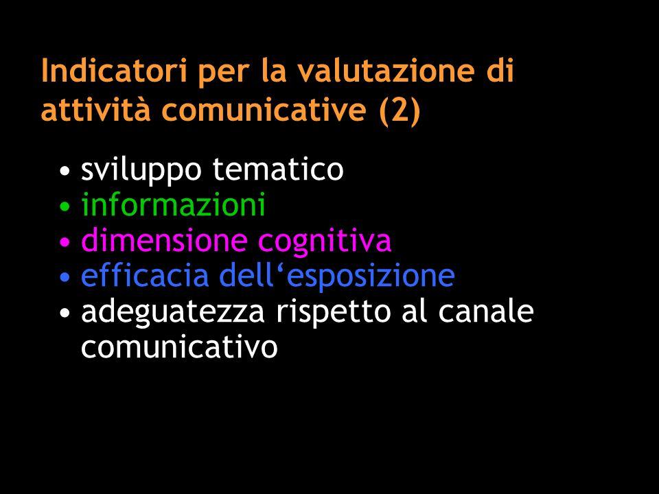 Indicatori per la valutazione di attività comunicative (2)