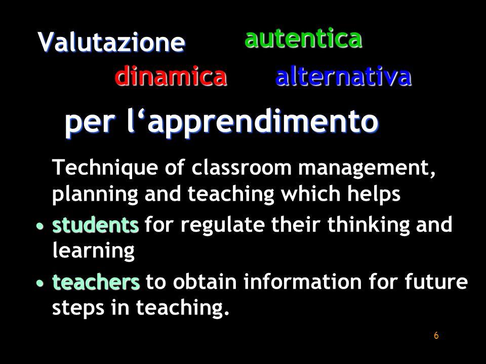per l'apprendimento autentica Valutazione dinamica alternativa