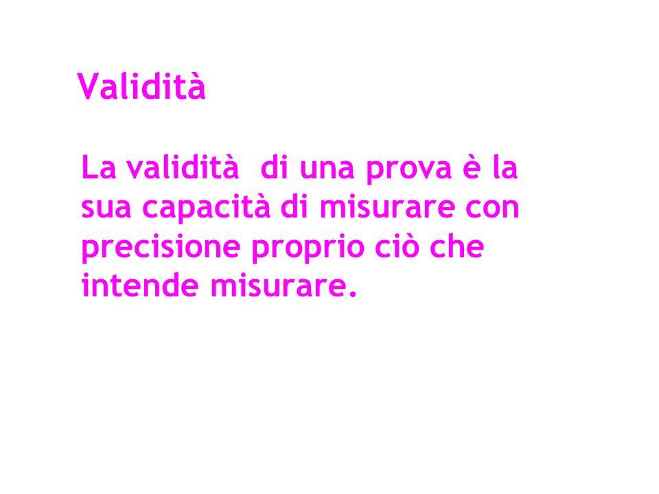ValiditàLa validità di una prova è la sua capacità di misurare con precisione proprio ciò che intende misurare.