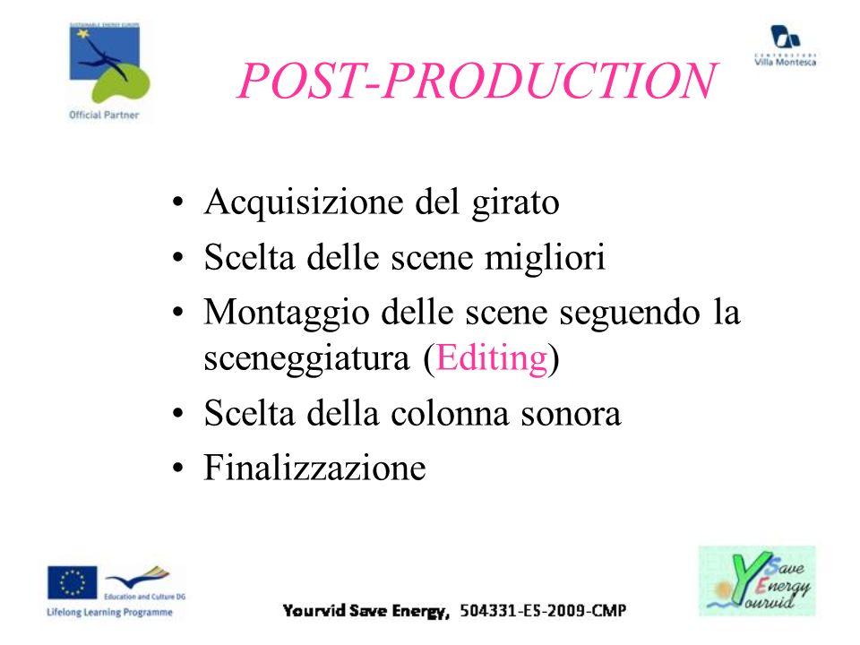 POST-PRODUCTION Acquisizione del girato Scelta delle scene migliori