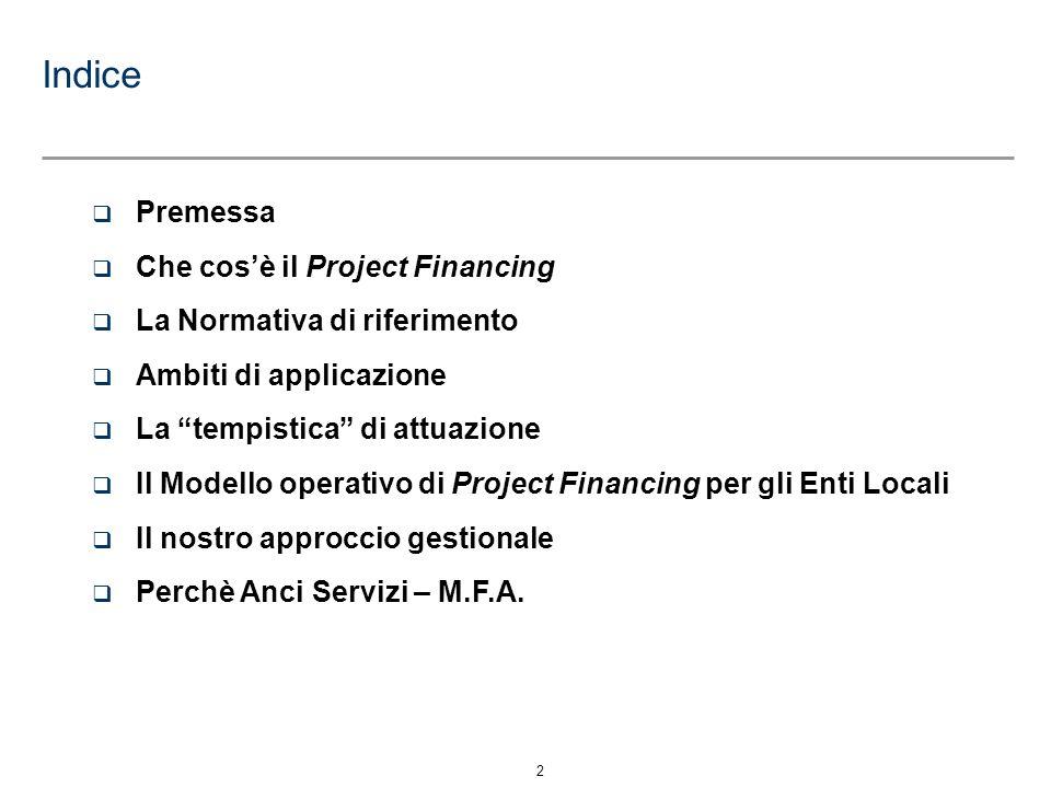 Indice Premessa Che cos'è il Project Financing