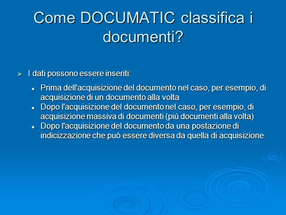 Come DOCUMATIC classifica i documenti