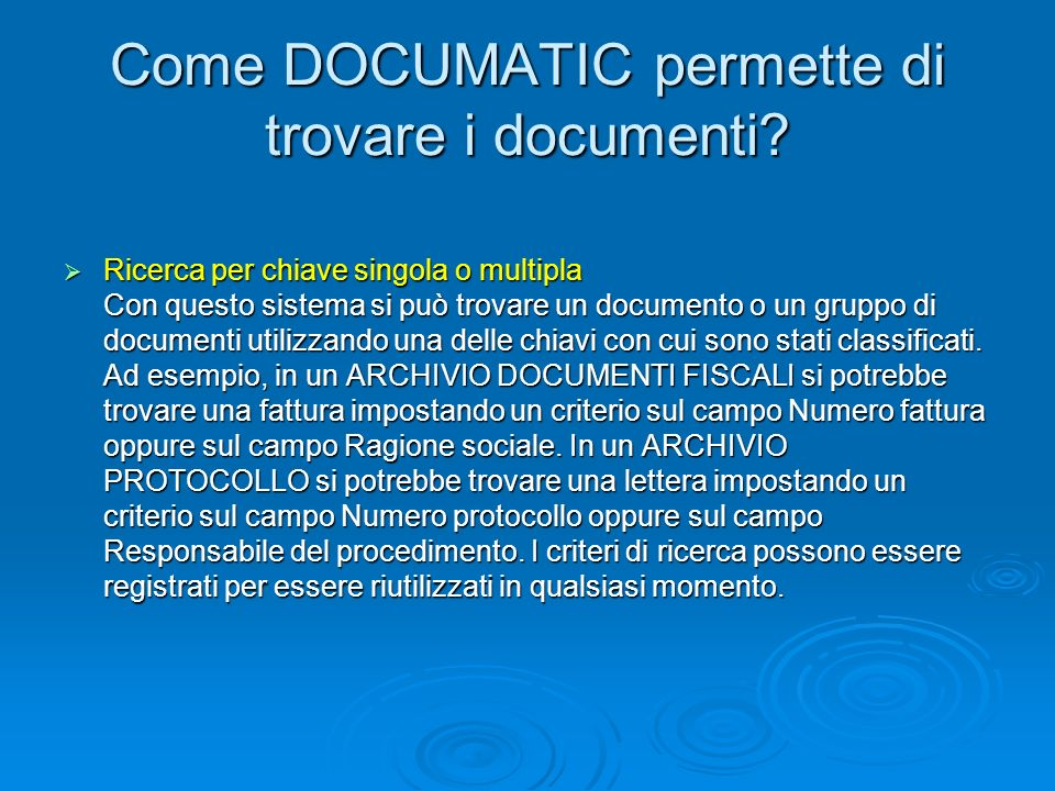 Come DOCUMATIC permette di trovare i documenti