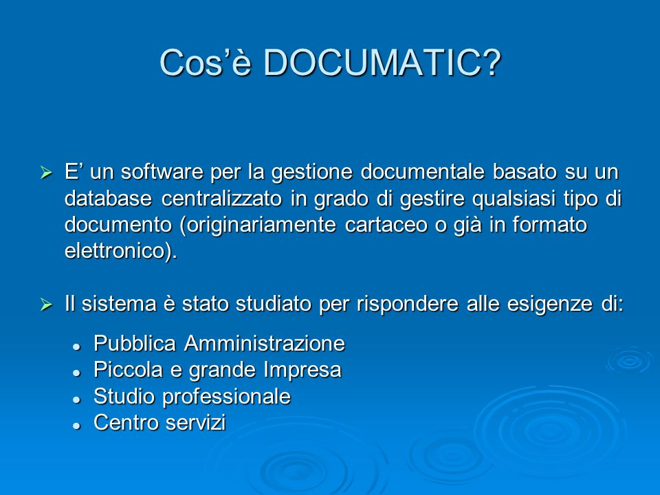 Cos'è DOCUMATIC