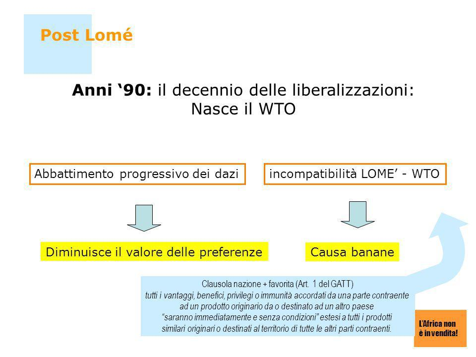 Anni '90: il decennio delle liberalizzazioni: Nasce il WTO