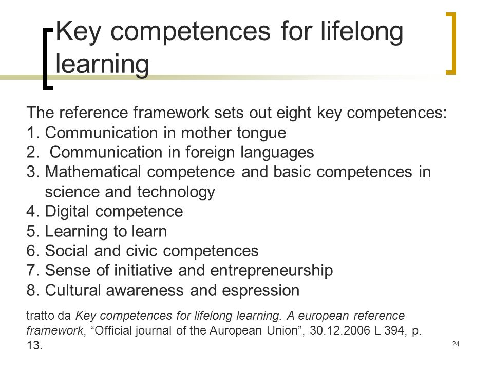 Key competences for lifelong learning