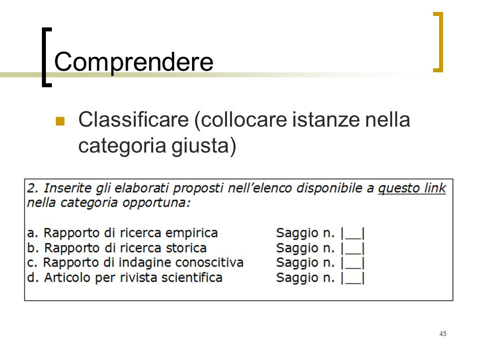 Comprendere Classificare (collocare istanze nella categoria giusta)