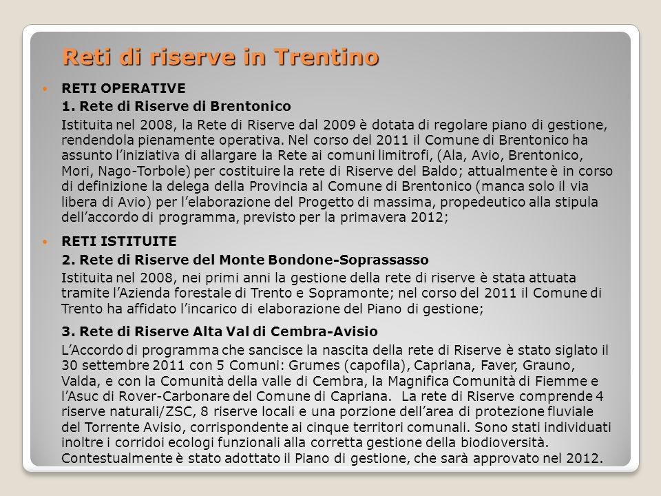 Reti di riserve in Trentino
