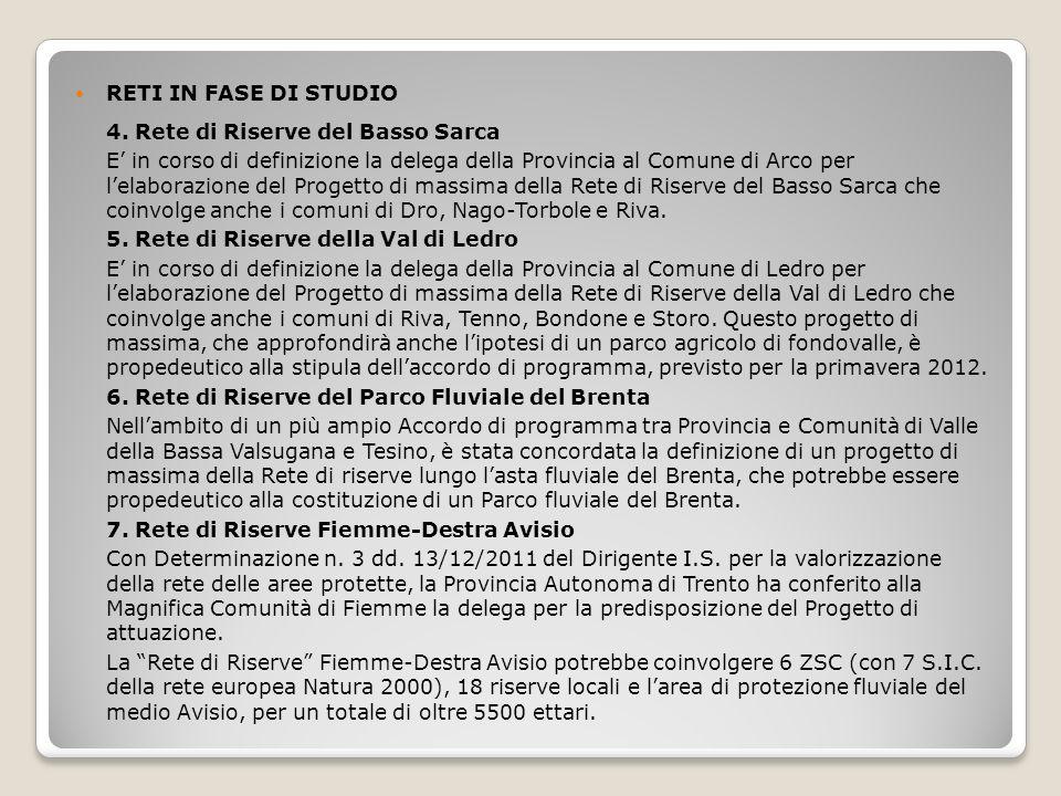 RETI IN FASE DI STUDIO 4. Rete di Riserve del Basso Sarca.