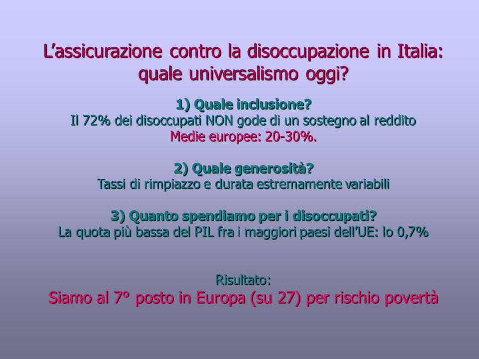 3) Quanto spendiamo per i disoccupati