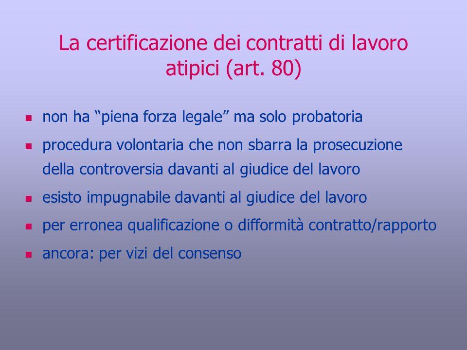 La certificazione dei contratti di lavoro atipici (art. 80)