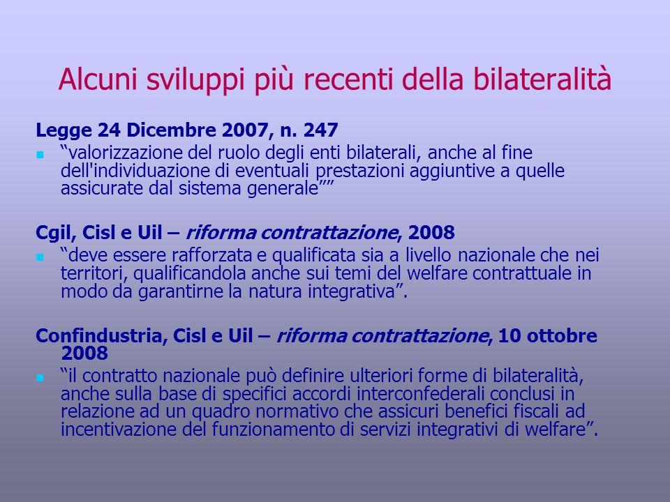 Alcuni sviluppi più recenti della bilateralità
