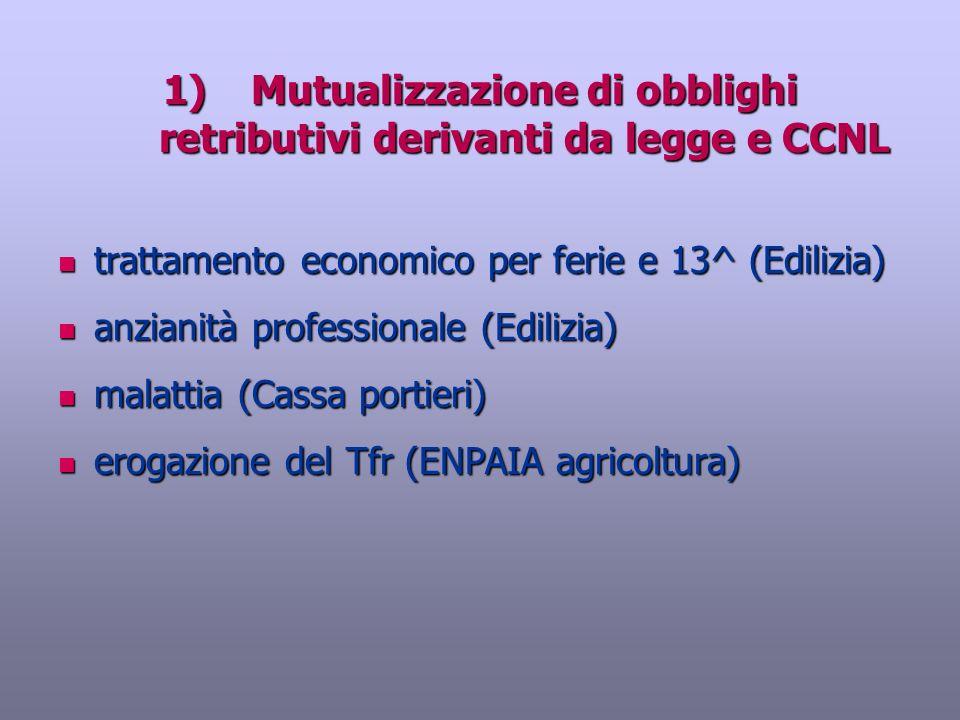 Mutualizzazione di obblighi retributivi derivanti da legge e CCNL