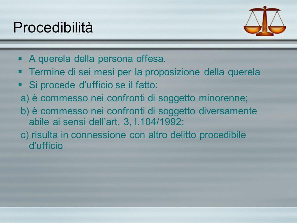 Procedibilità A querela della persona offesa.