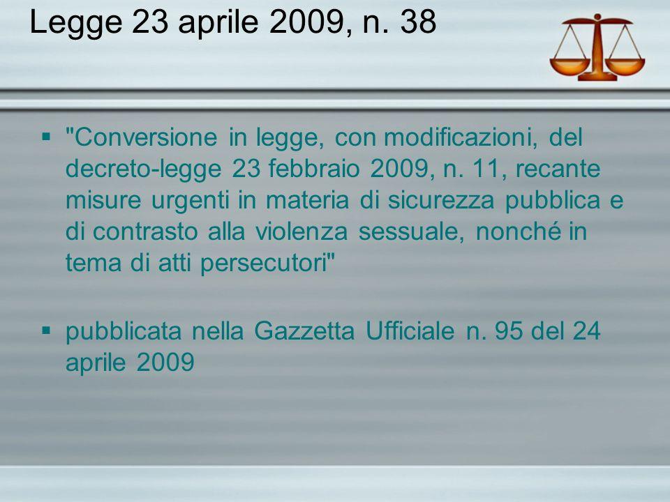 Legge 23 aprile 2009, n. 38