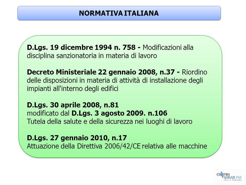 NORMATIVA ITALIANAD.Lgs. 19 dicembre 1994 n. 758 - Modificazioni alla disciplina sanzionatoria in materia di lavoro.