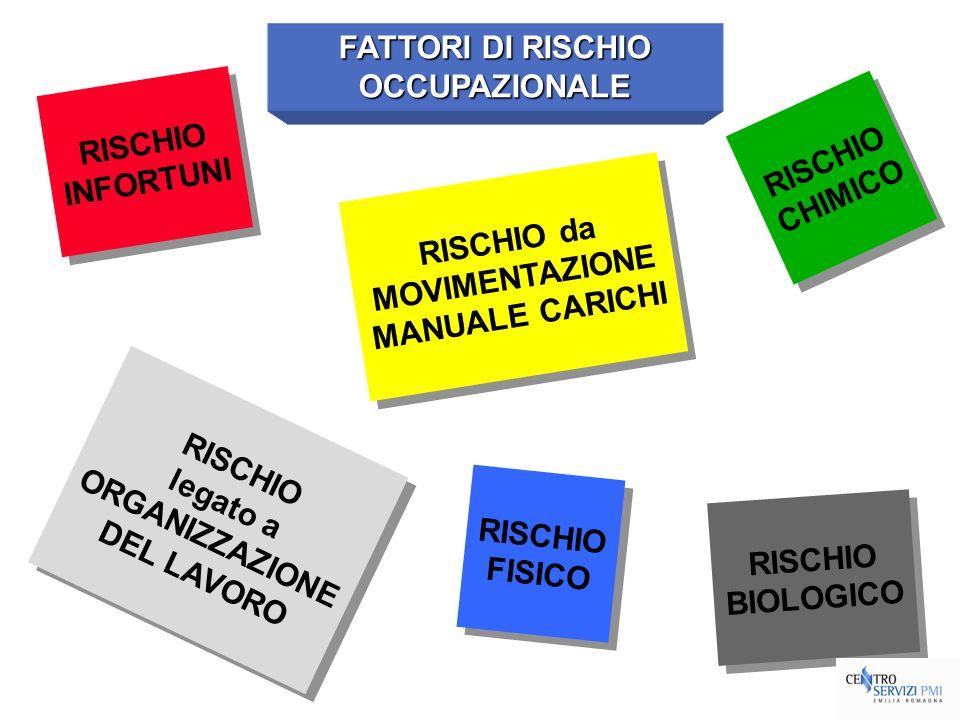 FATTORI DI RISCHIOOCCUPAZIONALE. RISCHIO. INFORTUNI. RISCHIO. CHIMICO. RISCHIO da. MOVIMENTAZIONE. MANUALE CARICHI.