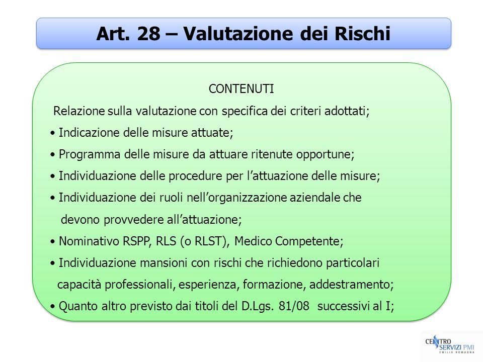 Art. 28 – Valutazione dei Rischi