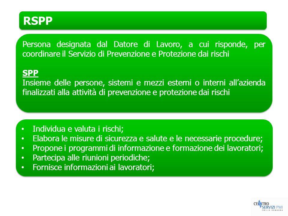 RSPP Persona designata dal Datore di Lavoro, a cui risponde, per coordinare il Servizio di Prevenzione e Protezione dai rischi.