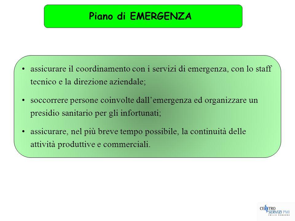Piano di EMERGENZA assicurare il coordinamento con i servizi di emergenza, con lo staff tecnico e la direzione aziendale;