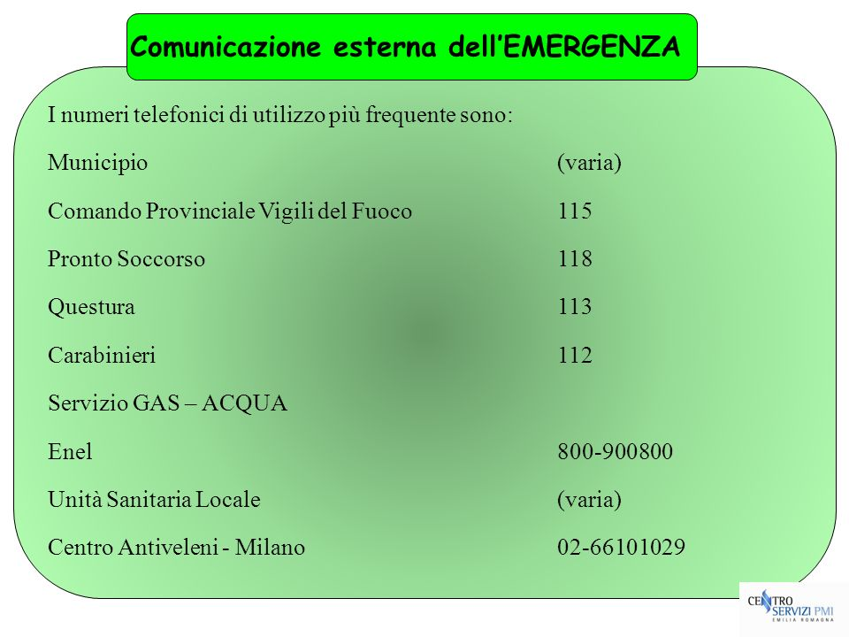 Comunicazione esterna dell'EMERGENZA