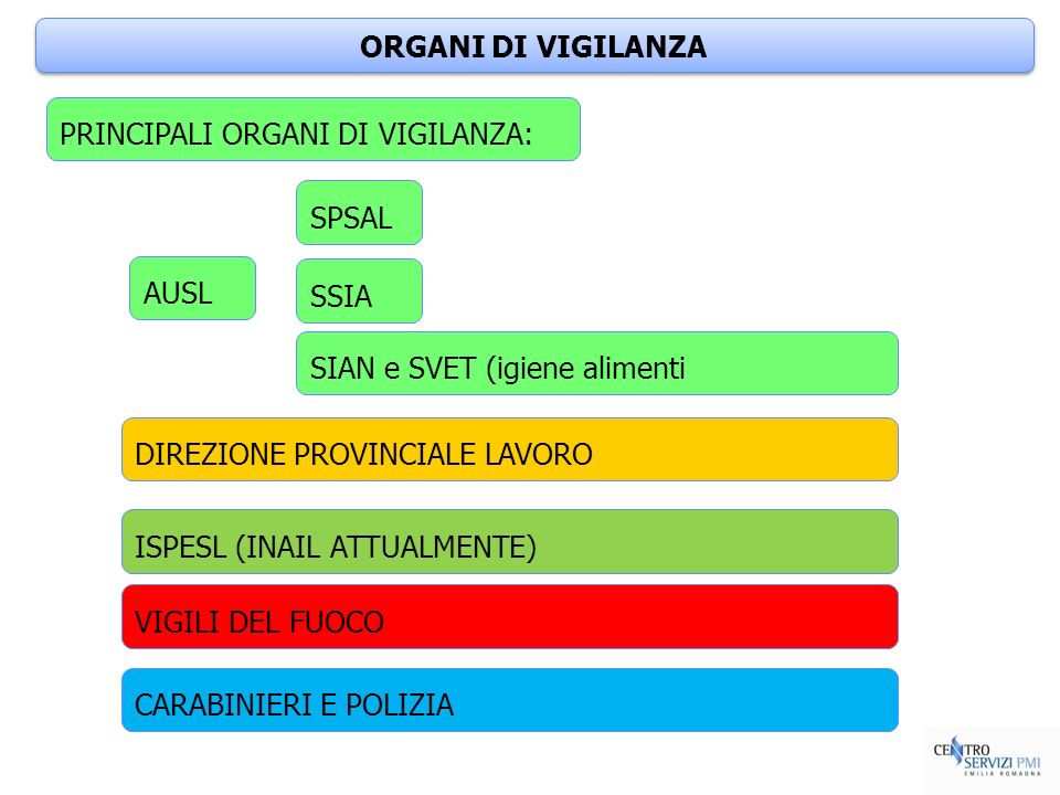 ORGANI DI VIGILANZAPRINCIPALI ORGANI DI VIGILANZA: SPSAL. AUSL. SSIA. SIAN e SVET (igiene alimenti.