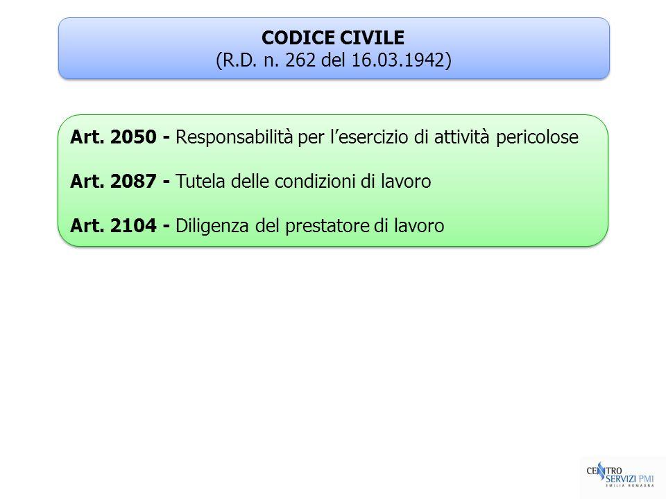 CODICE CIVILE (R.D. n. 262 del 16.03.1942) Art. 2050 - Responsabilità per l'esercizio di attività pericolose.