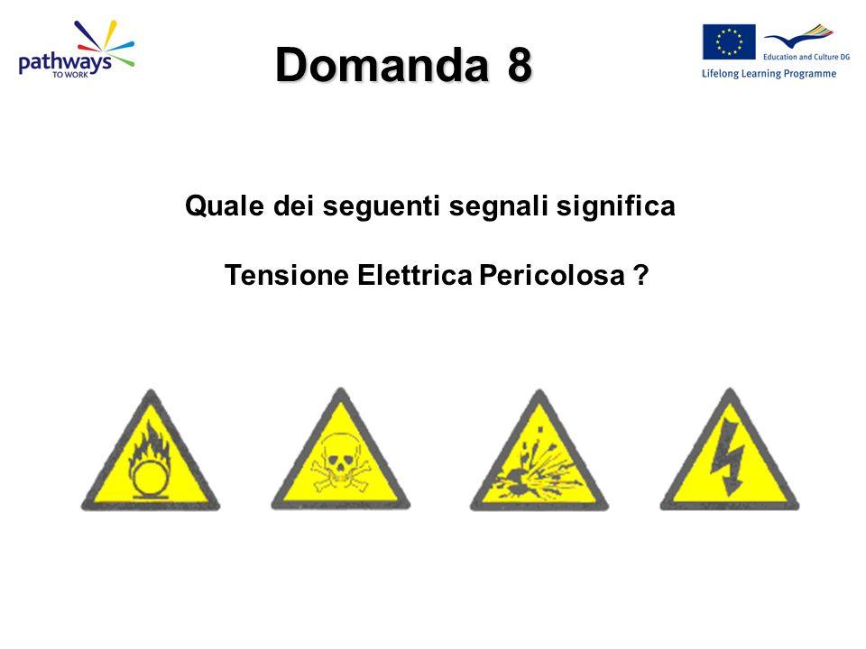 Quale dei seguenti segnali significa Tensione Elettrica Pericolosa
