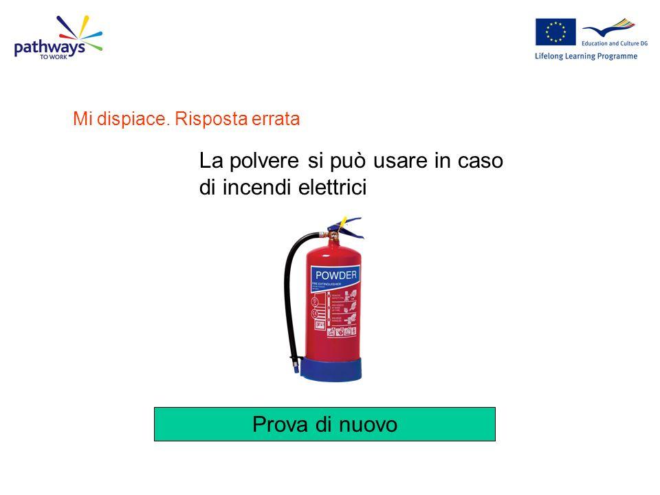 La polvere si può usare in caso di incendi elettrici
