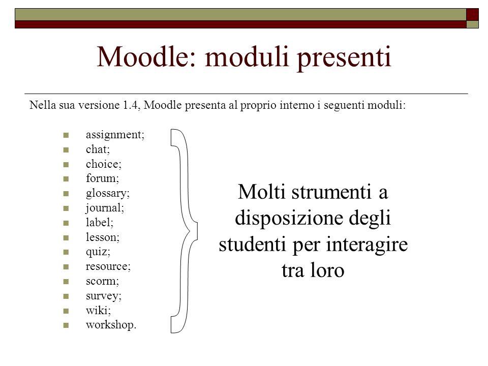 Moodle: moduli presenti