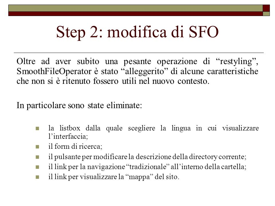 Step 2: modifica di SFO