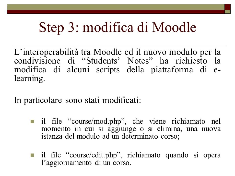 Step 3: modifica di Moodle