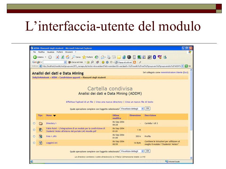 L'interfaccia-utente del modulo