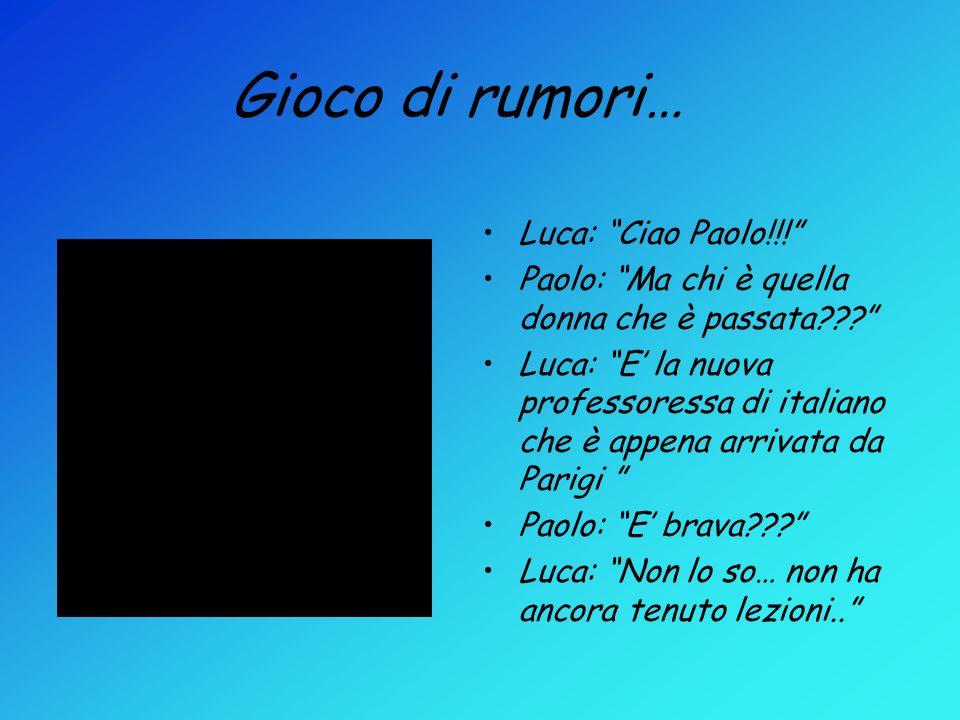 Gioco di rumori… Luca: Ciao Paolo!!!