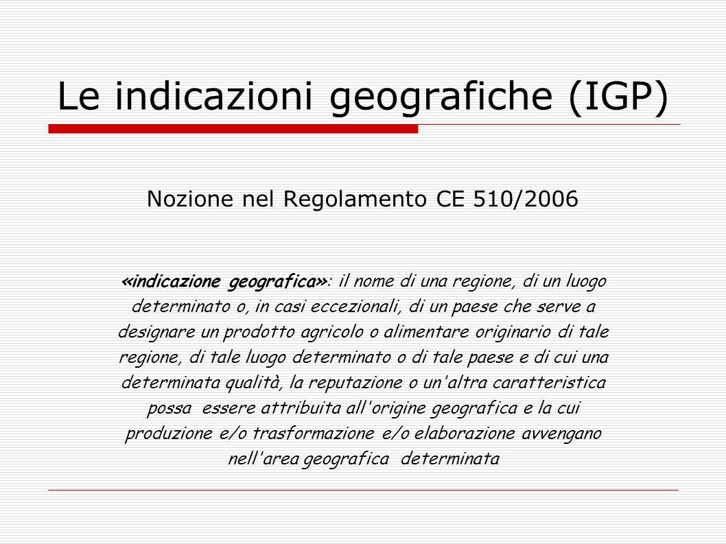 Le indicazioni geografiche (IGP)