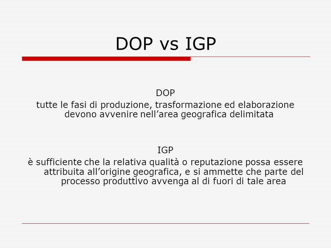DOP vs IGP DOP. tutte le fasi di produzione, trasformazione ed elaborazione devono avvenire nell'area geografica delimitata