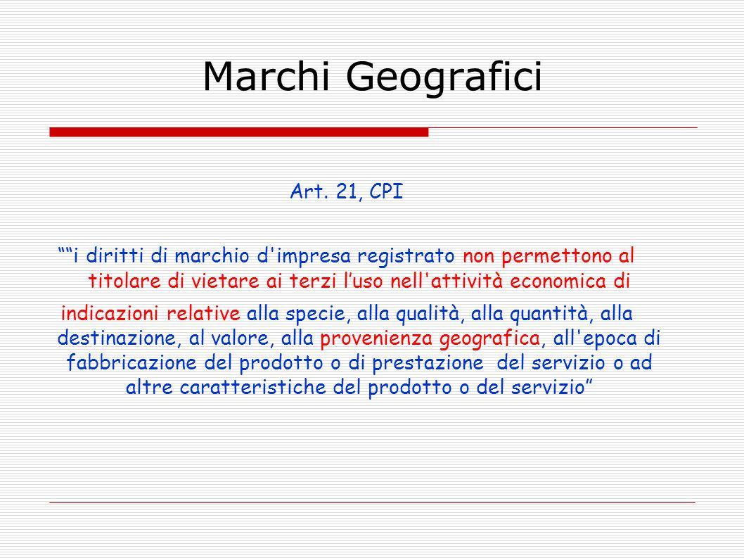 Marchi Geografici Art. 21, CPI