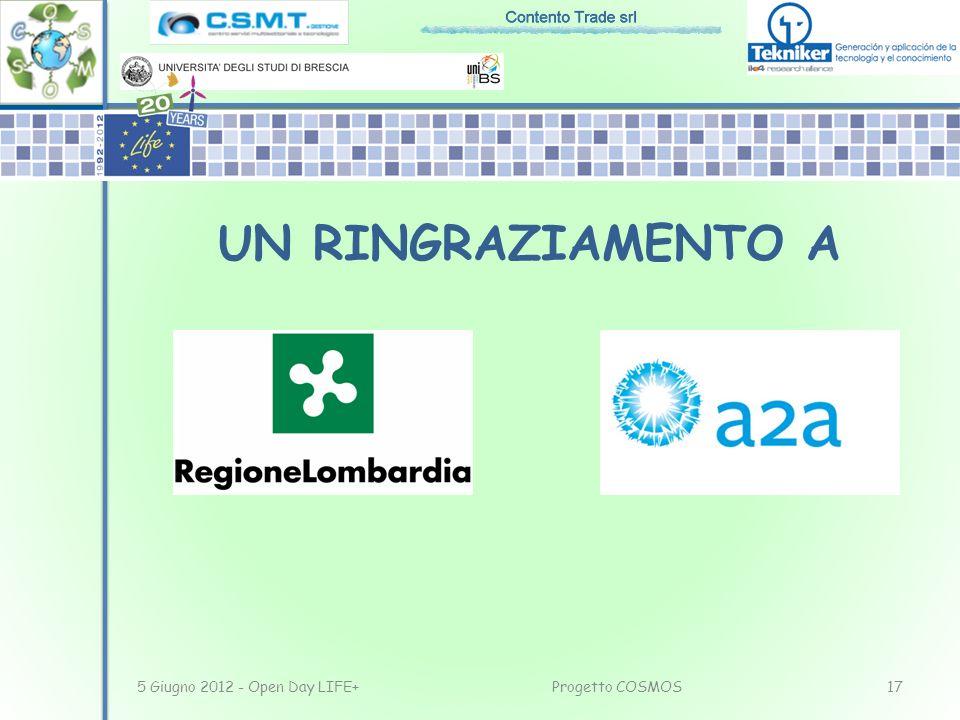 UN RINGRAZIAMENTO A 5 Giugno 2012 - Open Day LIFE+ Progetto COSMOS