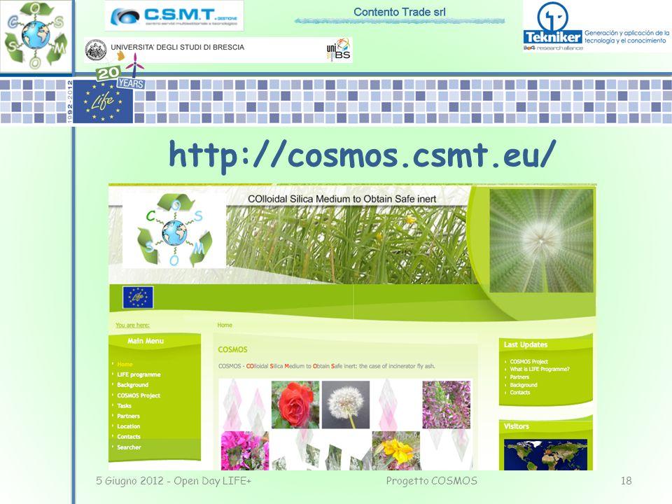 http://cosmos.csmt.eu/ 5 Giugno 2012 - Open Day LIFE+ Progetto COSMOS