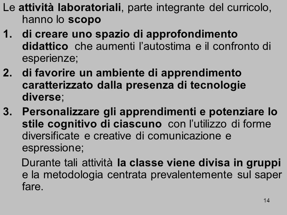 Le attività laboratoriali, parte integrante del curricolo, hanno lo scopo