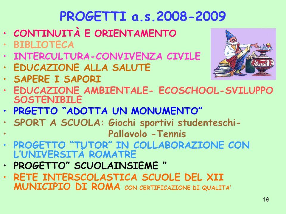 PROGETTI a.s.2008-2009 CONTINUITÀ E ORIENTAMENTO BIBLIOTECA