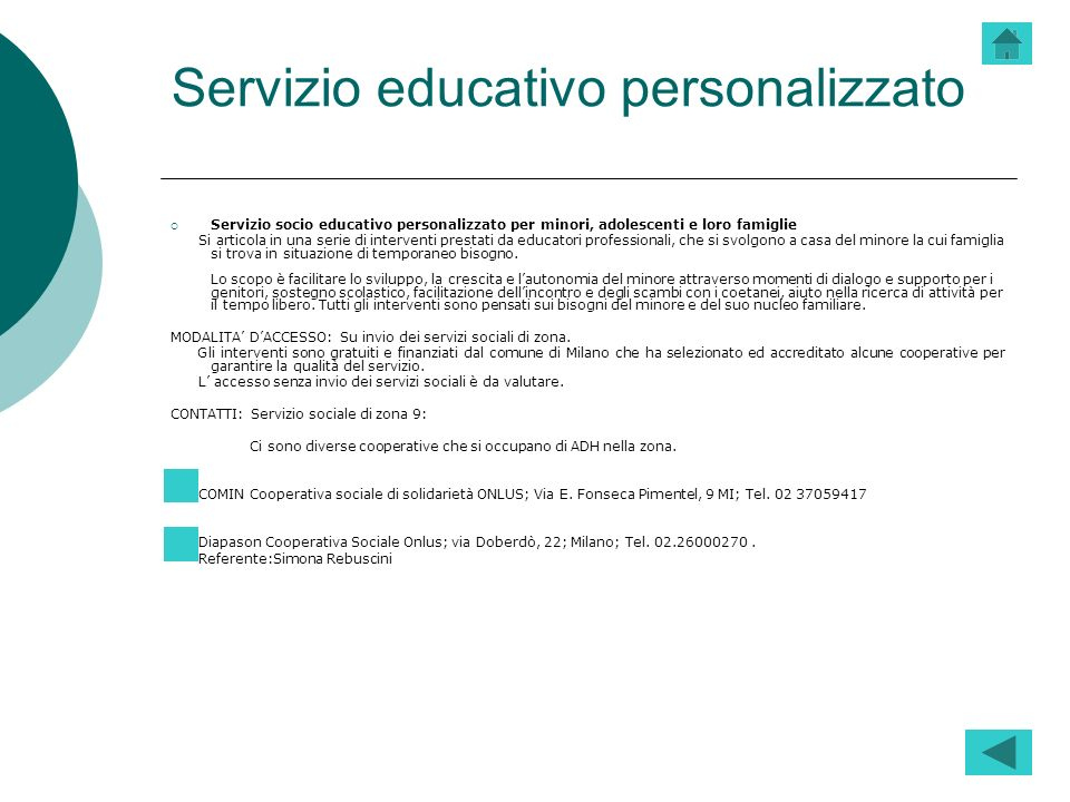 Servizio educativo personalizzato