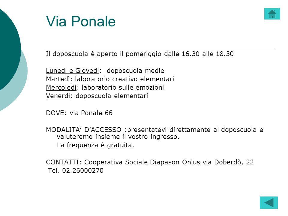 Via Ponale Il doposcuola è aperto il pomeriggio dalle 16.30 alle 18.30