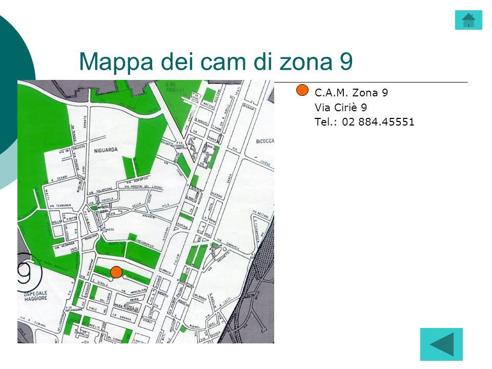 Mappa dei cam di zona 9 C.A.M. Zona 9 Via Ciriè 9 Tel.: 02 884.45551