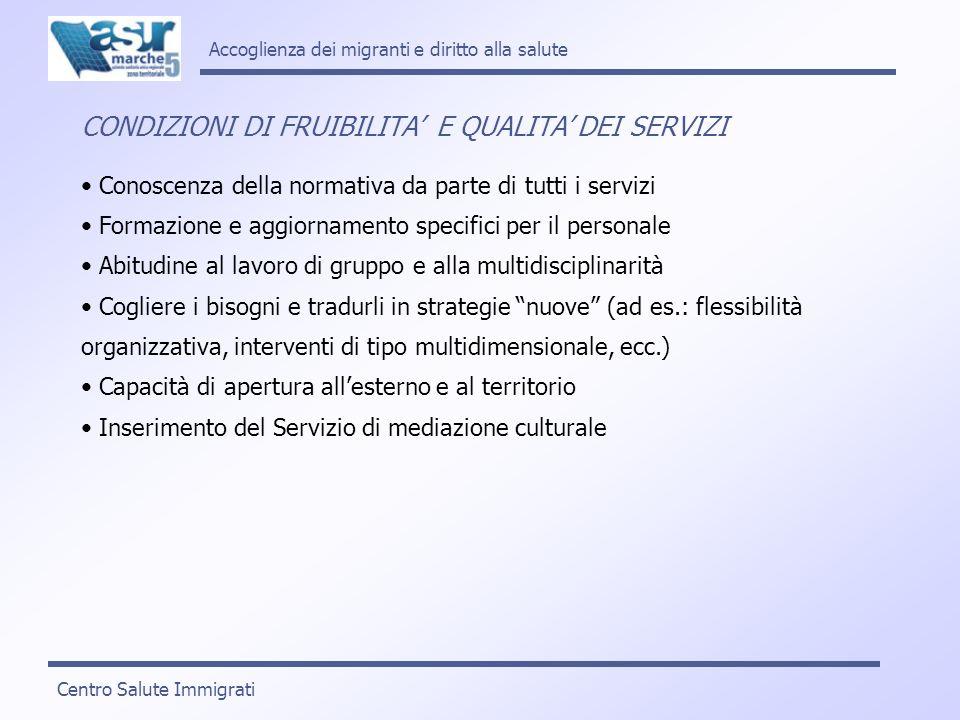 CONDIZIONI DI FRUIBILITA' E QUALITA' DEI SERVIZI