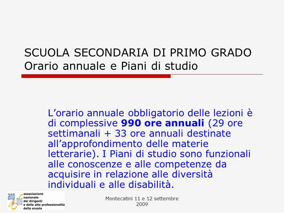 SCUOLA SECONDARIA DI PRIMO GRADO Orario annuale e Piani di studio