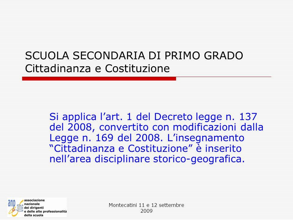 SCUOLA SECONDARIA DI PRIMO GRADO Cittadinanza e Costituzione
